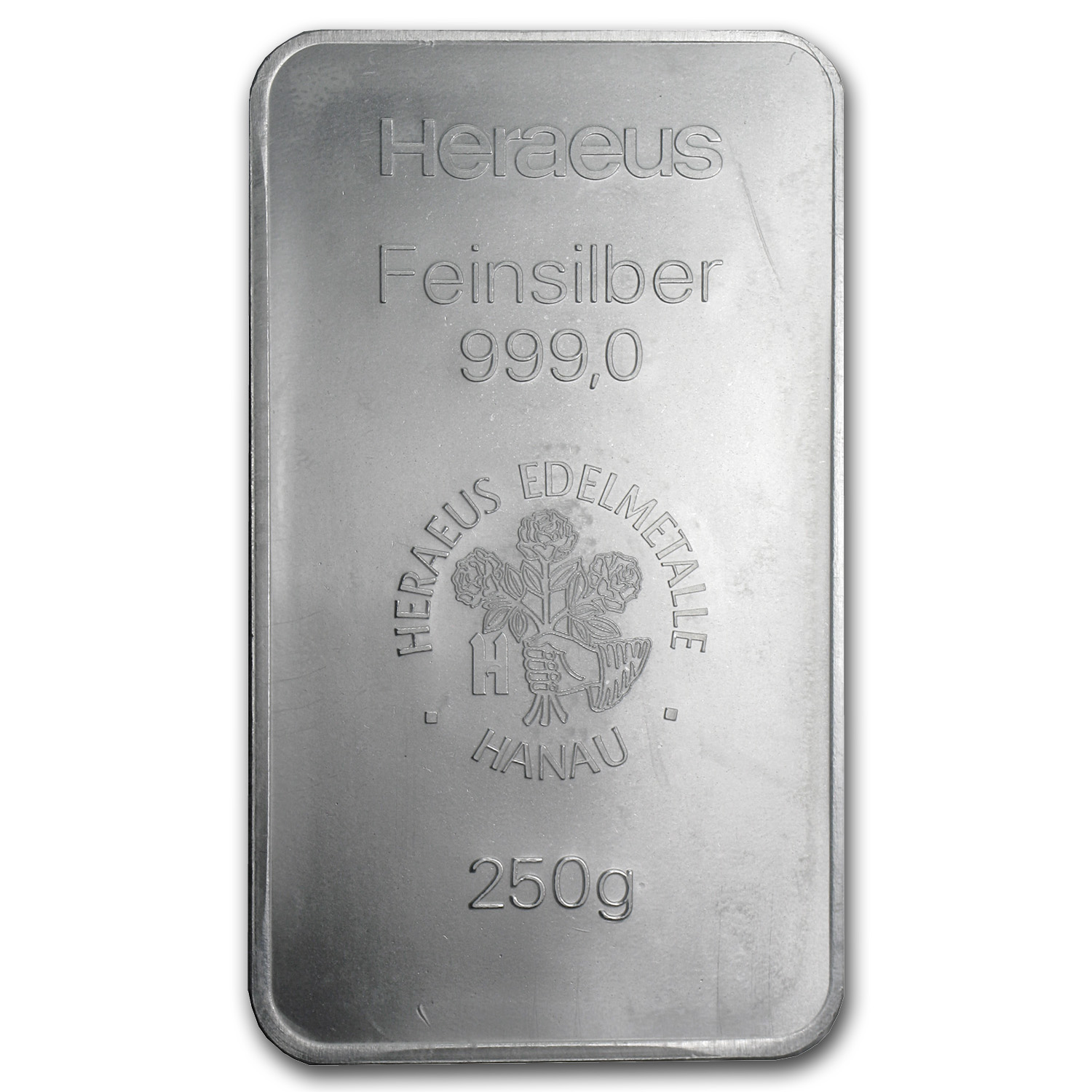 250 gram Silver Bar - Heraeus (Pressed)